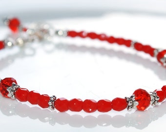 Red Beaded Charm Bracelet, Valentines Gift for Her, Czech Glass, Red Jewelry, Crystal Charm Bracelet, Red Bead Jewelry, Red Crystal Jewelry