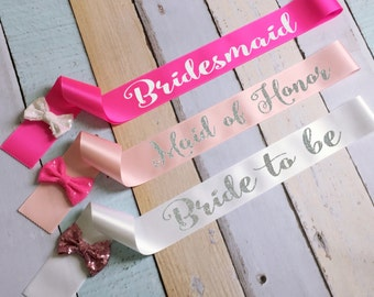 Bridesmaid Sashes. Bachelorette Bow Sashes. Bride Sash. Bridesmaid Sash. Wedding Sash. Custom Sash. Sequin Glitter Bow Sash. Cute Sash