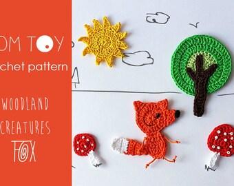 Crochet PATTERN Woodland Creatures applique - FOX set
