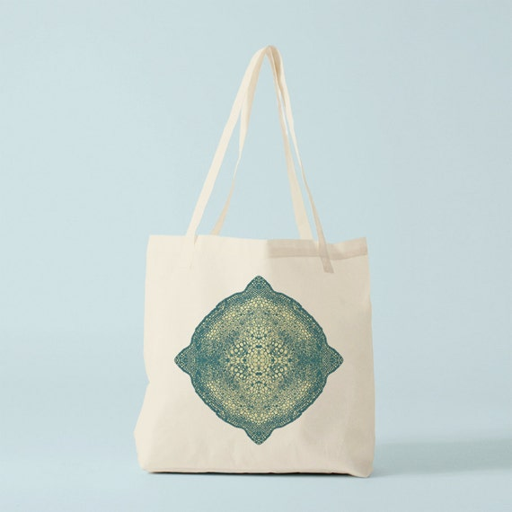 Green Mandala Tote bag. Cotton bag, groceries bag, spring bag, novelty gift, gift for coworker, gift for women, reusable fabric tote.