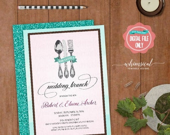 "Wedding Brunch Invitation ""Utensils, Fancy"" (Printable File Only) The New Mr and Mrs Day After Wedding Brunch Fancy Fork Spoon Knife Swirly"