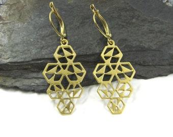 Large Dangle Earring, Unique Drop Earrings, Elegant Earrings, Design Earrings, Plated Gold Earrings, Statement Earrings, Woman's Dangle
