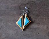 Delaware Dangle Earrings   Recycled Skateboard Jewelry   Wood Jewelry   Teal Earrings