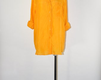 90s marigold silk top / 1990s bright yellow blouse / vintage slouchy camp shirt