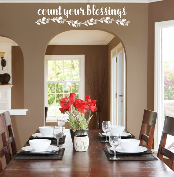 Kitchen Blessing Wall Decor: Count Your Blessings Kitchen Wall Decor/ Kitchen Wall Decal/