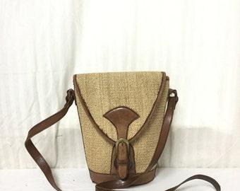 Leather Sisal purse,sisal bag,leather purse, shoulder Bag, Cross Body ,Brown,tan
