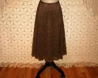 Brown Lace Skirt Flared Midi Full Skirt Romantic Gypsy Boho Skirt Boho Clothing Brown Skirt Liz Claiborne Size 8 Skirt Medium Women Clothing