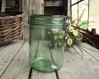 French Vintage Jar L'Ideale - Mason Jar - Green Glass - Kitchen Storage Container - Green Canning Jar - Kitchen Canister - French Kitchen