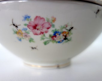 """bowl """"Chitins Gloss"""" vintage porcelain handpainted with ants"""