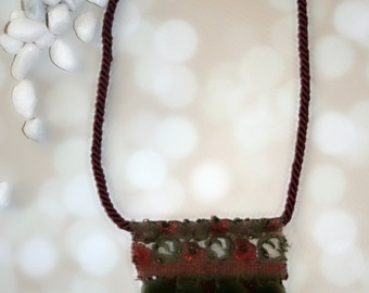Olive and Ox Pom Fringe Necklace, rope cord fringe necklace, silk necklace, embroidered, necklace, wine, girls necklace