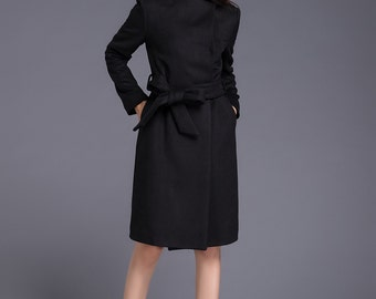Black Winter Wool Coat For Women