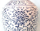 Stunning Antique 19th Century LARGE Chinese Ginger Jar, Blue and White, Floral Design, Jar and Lid, Home Decor, Hand Painted, Asian Vase