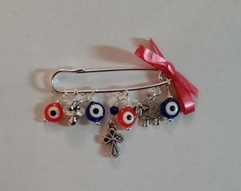 Stroller pin, Evil eye pin, baptism pin, baby brooch, evil eye baby safety pin, cross pin, baby shower gift, mom to be gift, unique gift