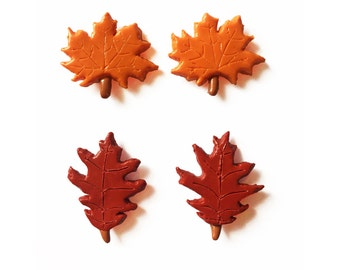 Leaf Magnets - Polymer Clay Magnets - Autumn Magnets - Fall Magnets - Maple Leaf - Fall Foliage Magnet - Halloween Magnets - Oak Leaf