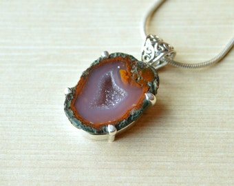 Purple Centered Heart Geode Pendant // Geode Jewelry // Sterling Silver // Village Silversmith