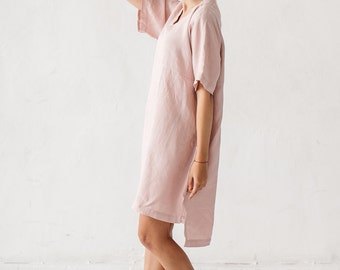 Linen dusty pink dress, V neck linen dress, Minimal linen dress, Linen tunic, Minimal linen tunic, Stone washed, Linen clothes, Linen