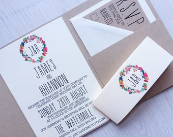 Pocketfold wedding invitation - rustic floral