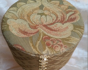ON SALE Renaissance Medieval Brimless Floral Flower Olive Green Gold Diamond Toque Pill Box Style Hat - 100% Handmade/Sewn