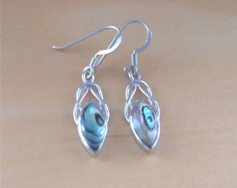 925 Paua Shell Celtic Knot Earrings/925 Silver Celtic Earrings/Paua Shell Jewellery/Paua Shell Jewelry/Paua Shell Jewelery/Celtic Jewellery