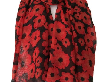 Black Scarf Red Poppy Print, Poppies Floral Wrap, Ladies Flowers Pattern Shawl