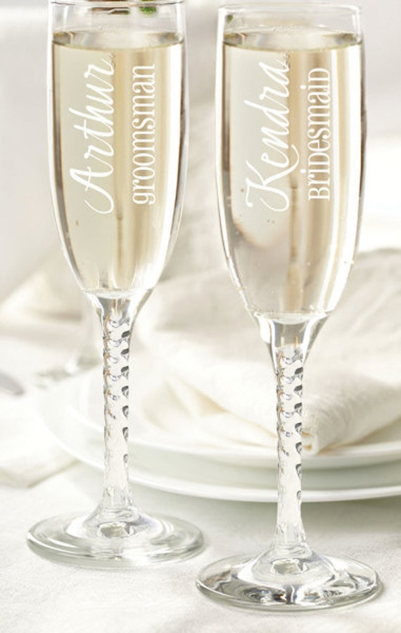 personalized wedding party champagne flutes bridesmaid gifts