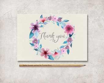 Floral Thank You Card Printable, Baby Shower Thank you Card, Birthday Thank you card, Boho Thank you Card, Printable Thank you card