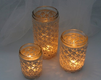 Mason Jar Votive or Vase with Knitted Lace Cover