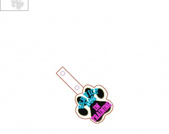 Service Dog In Training - Paw Print -  In The Hoop - Snap/Rivet Key Fob - DIGITAL Embroidery Design