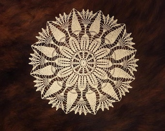 Arianne lace centerpiece, ecru crochet doily, large table topper, wedding table decor, lace round doily 13.5 inches, dainty crochet doily