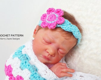 HEADBAND PATTERN By KerryJayneDesigns, BABY Headband Pattern Flower Headband pattern Crochet Headband pattern 8 sizes easy headband Uk Pdf