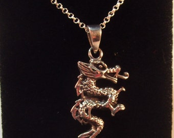 Sterling Silver Dragon Pendant on new Silver Chain