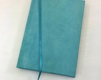 Teal Leather Bound Journal, Suede Hardcover Diary, Turquoise Handbound Sketchbook, Aqua Leather Notebook, Writing Journal, Gifts for Her