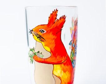 Squirrel Mug, Woodland Animal, Woodland Wedding Gift, Glass Tea Mug