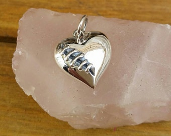 Heart Charm, Sterling Silver Mended Heart Charm, Stitched Heart Charm, Broken Heart, Love Jewelry, Mended Broken Heart Charm Pendant