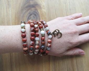 108 Bead Mala Necklace, Bracelet, Wrist Mala, Red Jasper and Magnesite, Long Necklace, Yoga Mala, Beaded Wrap Bracelet, Om Pendant