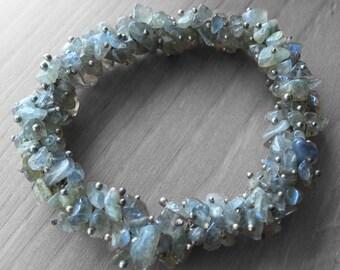 Sterling silver Blue fire Labradorite chip bracelet