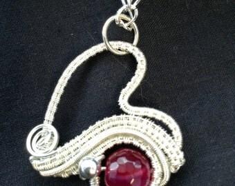 Cute handmade silver heart pendant Wirewrapped pendant