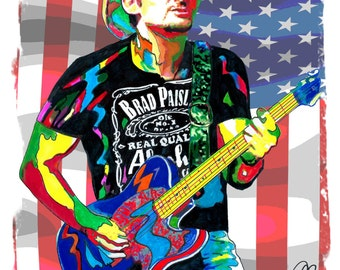 """Brad Paisley, Country Music, Vocals, Guitar, Singer Songwriter, POSTER from Original Drawing 18"""" x 24"""" Signed/Dated by Artist w/COA 1"""