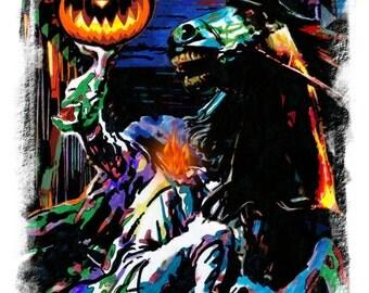 "Headless Horseman, The Legend of Sleepy Hollow, Halloween, Ghost, POSTER from Original Dwg 18"" x 24"" Signed/Dated by Artist w/COA"