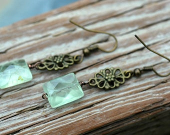 Faceted Prehnite and Antiqued Brass Long Gemstone Earrings