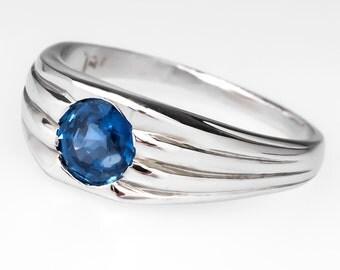 Retro Gypsy Set .60 Carat Round Blue Sapphire Engagement Ring 14K White Gold HH464