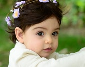THE MALIA BABY - Double Purple Children's Flower Wreath Crown Hair Accessories Flower Girl Boho Wedding Floral Wreath Baby Hair Toddler Bow