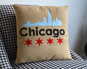 Chicago Skyline - Pillow Cover - Chicago Stars