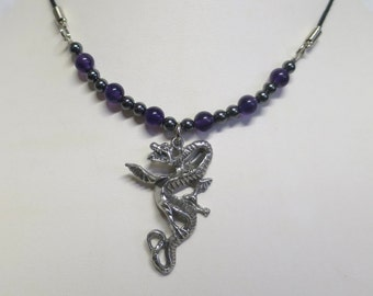 Dragon necklace with Amethyst and Hematite Beads
