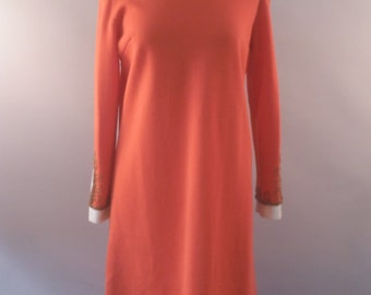 Tangerine and Ivory Wool Shift Dress with gold beading, Crown Royal, Vintage 1960's, M/L