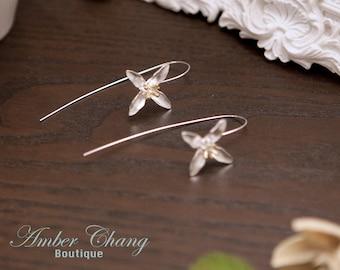 Sterling Silver Earrings Lily Flower Earrings