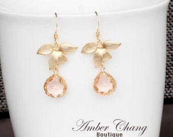 Gold orchid earrings Gold flower earrings Bridesmaid earrings Drop earrings