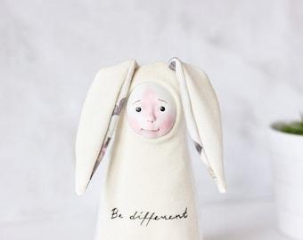 Whimsical art, quirky doll, OOAK doll, fabric doll, Scandinavian nursery, stuffed doll, white nursery decor, kawaii plush, whimsical doll