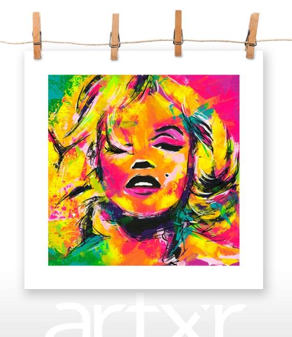 MARILYN CHISELED SILHOUETTE V.01 20x20 Print of an Original Acrylic Painting ... Marilyn Monroe