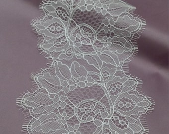 Off white Lace Trimming, French Lace, Chantilly Lace Bridal Gown lace Wedding Lace White Lace Veil lace Scalloped lace Lingerie Lace L1035